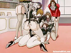 The maids are listening to their owner and they fuck. This perverted lady puts one of the gals to fuck another one with a belt on and that babe does as requested, first with a bit of shame but after a while these sluts are getting horny and they love it so does the mistress as that babe masturbates watching them.