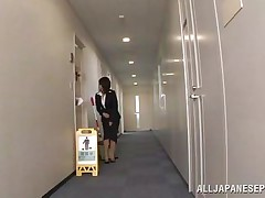 Japanese cunt wants to piss, but doesn`t know where. That babe asks a worker, but he doesn`t help her and she pisses outside the building. This chab follows her and watches her. Then, he becomes so slutty and starts to play with her moist pussy, recording it at the same time. They go to hide from others when she sucks his cock.