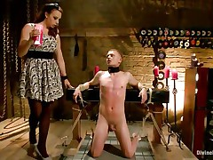 Micah Andrews is fastened up so that fellow can't move during the time that mistress Chanel Preston drips hot candle wax all over his body. This babe drips the wax on his chest, tongue, and dong and balls. After choking him until that fellow gasps for air, that babe whips his petite dong red.
