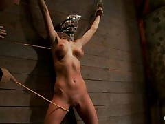 Watch this slut as that babe is tied on the wall and has a bag on her head. She is suffocating slowly and to increase the pleasure of being dominated they chastise her sexy body by spanking her on the thighs and abdomen with a stick. After spanking that babe acquires a vibrator on her cunt and moans with pleasure and pain. She's so sexy with those clamps on her hard nipps and, will they add greater amount weights?