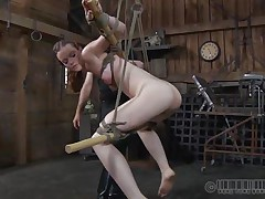 Hazel is beneath skillful hands. Those old executors have a lot of experience in punishing youthful and beautiful sluts like she is. The tied her up nicely and then hanged the bitch, even mouth fucked her a bit. Now she stays there and awaits for more. Perhaps they have smth very special for her hawt ass