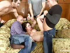 Sexy whore Nikita gets her booty gangbanged by her hot five boyfriends. She really likes being treated as the slut that hottie is, from behind and deep in her mouth. With her titties and feet spanked, that hottie is screwed so hard by them, one after another. Her constricted booty hole is good, but deepthroating is her specialty!