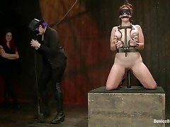 And so is a perverted session of bdsm! This doxy stays in her knees all tied up and with her love melons squeezed whilst her mistress, just like she is, has a blindfold around her eyes. The mistress spanks the slut with an electric wand and the rest is for you to watch and have a fun it!