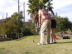 Why train her how to play golf when this playgirl can play with something that she's already used with. The sexy brunette milf leaves the golf cross and takes this guy's hard pecker instead. This playgirl gives him a not many sucks and then goes on top to ride the dude like a fucking whore! Watch how deep this playgirl takes it while rubbing her clitoris?
