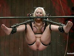 Secured in a bondage device the busty blonde whore is about to acquire her well deserved punishment. Some ass kicking and she's ready to be punished! At first they use a sextoy to warm her pussy and then fingers it deeply. Maybe this babe loves it a lot, in the end she's just a dirty slut, isn't she?