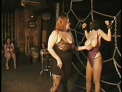 Here's a oldie but goldie bdsm. Headmistress Bianca taunts her female sex thrall not only with her large delicious boobs but with her skills too. That babe ties Carla's large breasts with rope and squeezed 'em hard after she played with them. Carla will have to obey the will of her mistress because she's fastened hard