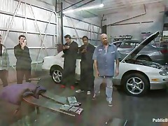 Blonde babe Leya Falcon gets her bazookas and hands tied jointly in rope bondage by sexy dark brown milf. Tommy Pistol puts her on her knees and bonks her throat roughly, spitting on her sweet whore face. Then he slams her pink bald pussy against the white car. She enjoys having large white meat inside her vagina.