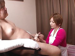 'coz this stud has his hands injured and can't masturbate the sweet nurse Meguru helps him with that problem. She takes off her clothes, remains only in that sexy white bra and panties and then begins to take up with the tongue his dick gently. Meguru wants to satisfy him and acquires a of of jizz in return!