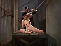 That guy tied her in a very uncomfortable position and used clamps on her nipples. She is ball gagged so that the screaming and groaning won't disturb the executor as he roughly rubs her wet crack with a vibrator. The bitch stays there and has nothing to do then accept her situation. Curios what else awaits this bitch?