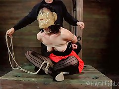 Blindfolded with duct tape and tied up, this brunette milf Elise is receives a rough mouth fuck from her executor. The guy is not joking around and he inserts his penis deep in her throat, showing this doxy what her sensual pink lips are good for. Perhaps some warm jizz on her face will elementary her castigation