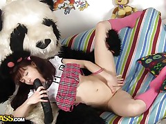 Selena loves Pandas more then ecologists and surely in a very different way. What this sweetheart loves almost all about 'em is that giant ramrod and the way this sweetheart fills her pussy with it like in this case. See how the brunette hotty spreads her thin legs and acquires her vagina ripped, this sweetheart loves it that way and we have a fun seeing her