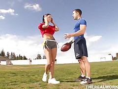 Violet and her chap have some good football practice outdoors. They love exercising but the most good work out they had that day was after they got inside the house. Violet repays her chap for paying her so much attention to her and kneels in front of him to give his rod a lustful suck. Now that's fair play in a relation