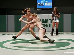Exposed sluts are wrestling hard coz every of 'em would like to dominate the other one. This is a true team battle contest and having your cookie treated by two girls feels so good. They have to choose, whether to stay there, cum and loose the fight or get up and begin dominating some cookie on their own!