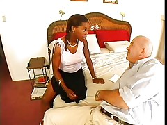 Violet Demarco is a skinny black midget milf with large tits. The hot honey with a nice ass knows how to please a guy and that's the reason Claudio called her. They take their clothing off and that babe begins sucking on his meaty cock. Being a sexually experienced woman, that babe doesn't forget to lick and suck his balls.