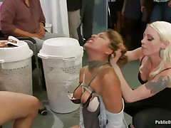 Watch this cute milf getting punished for all her sins. This Latin babe babe with big tits and a shaved wet crack has the time of her life. Mr. Pete's friends are there to watch her moaning with pleasure and ache as this chab fucks her wet vagina hard. This babe enjoys both males and sweethearts taking advantage of her.