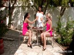 Three lesbo babes have hot romantic act in the garden