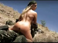 Camo clothes on anal pair outdoors