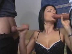 Euro girl in boots feasts on two dongs