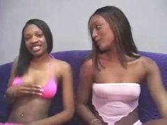 Youthful dark girl sits and sucks his cock
