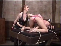 Gal in satin panties bound and spanked