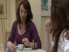 Two horny brunette MILF's have tea party and take up with the tongue every others pussy