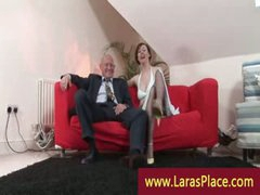 Fashionable lady in nylons undressing and seducing a guy