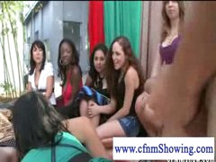 Cfnm beauties jerking off guy in a swing during the time that he eats muff
