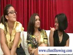 Cfnm girls loving a black seven inch 10-Pounder