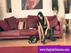 Useless male wench masturbates to headmistress leather boots