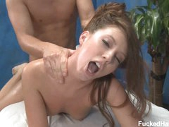 Maddy takes dick from behind after massage