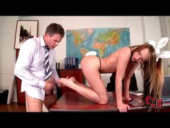 Pleasure bunny girl footjob and cumshot in her shoes