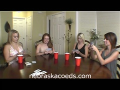 Hot college babes play undress poker