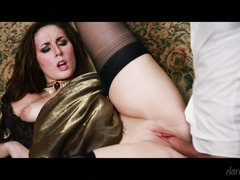 Nicely dressed Paige Turnah receives her snatch drilled