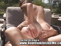 Allyssa Hall rides hard dick by the pool