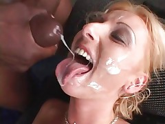 Tracey Lane acquires her face showered in hot cum