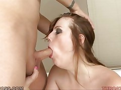 Emma Ash ramms a huge dick constricted down her face hole