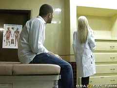 Hawt blonde doctor receives patient cock