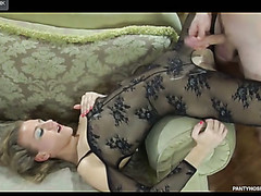 Sassy gal flaunts in a darksome open crotch bodystocking hungry for some meat