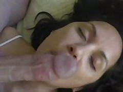 Pliant wife licks shlong and balls and acquires cum treat