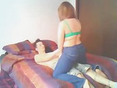 A great video of a chubby little redhead and her man lieing in daybed making out and teasing each other and finally at the end the babe blows her mans dong