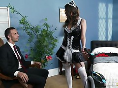 This cute brunette is employed as cleaning woman. Her boss is watching her how this babe is working and this guy is very lascivious and want to fuck her. The boss put her on the bed and begin to take up with the tongue her cookie and ass. Then this guy introduce his large cock in her soaked snatch and begin to fuck her very unfathomable and hard.