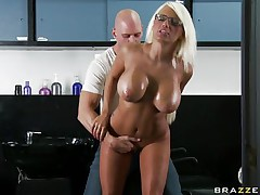 This hot golden-haired with perfect round titties is kissing with a sexy male. The guy is touching her and is playing with her big bumpers to stimulate her to be willing for hard sex. Now the guy is going down to her vagina and begin fingering her moist pussy making the golden-haired being horny and willing to be fucked.