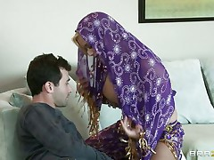 James Deen is cheerful by the big milk sacks of shyla stylez wearing belly dancer wardrobe. This babe is looking stunning in purple. Her milk sacks are groped hard by deen and licking it with passion. This babe really wishes her pussy being rubbed too.