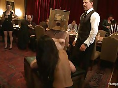 Odile, Lyla Storm, and Katharine Cane are all for the pleasure of the guests at this party. Katharine has a box on her head and is asking to cum. Lyla gets fingered in both holes and vibed on her clit. It's an elegant fuckfest for those brunette babes, pained or pleasured at the whims of the guests.