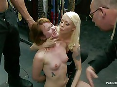 Lascivious redhead Claire enjoys being humiliated in public. This babe sits on her knees with a vibrator on her cunt and is expecting for greater amount commands from the people who are watching her. A strong males makes her throat engulf his big hard dick, then puts her on a chair and begins fucking that juicy pussy. Check it out!