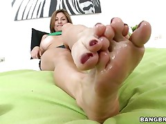 Lisa X is one fine woman from head to toe. Charming Eyes, sweet large tits, lean legs, a nice, round ass, and one yummy-looking pussy! The star this day is her feet, however, and she's getting 'em lubed up to take a cock between 'em and make her dude cum! If she's this worthwhile with her feet, then....