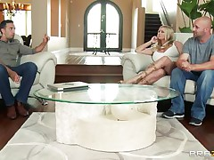 Briana Banks and her husband are offered a man for doing some act in front of a camera, as husband begins taking off his raiment he is told that the task have to be performed by professional. The big breasted milf acquiesces with him and likes to be fucked by professional. Her husband doesn't like this and goes out and then they begins their hardcore action. This guy kisses her and then lay down her on the bed and pull off her panties and sucks her cunt.