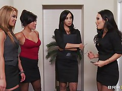 These four hot babes are going to make an offer to their boss her really can't refuse. Watch how the 1st one goes and and takes her clothing off and shows her big tits the same like the rest of them. They show him how hard they can work as group engulfing his hard 10-Pounder and making him cum.