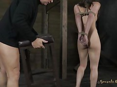Hot horny Casey on heels has her hands tied up by Matt. That stud prepares a chair for her and starts dominating her. That stud puts his hard weenie inside her impure mouth and mouth fucks her. At the same time, this chab plays with that dirty pussy of hers with a vibrator. With her head downwards this chab cums on Casey`s nice-looking face. Check out if this slut cums too!