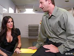 Look at that hot brunette hair telling her boss to come in the storage room so she can castigate him for trying to fuck them. Two of her allies come along and they receive excited on that chaps cock. Are they going to receive some spunk on their hot lips or some hard cock in their tight pussies?